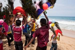 Kavadi dancing, Panama beach